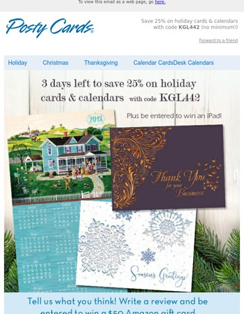 3 days to save 25% on holiday cards with no minimum!