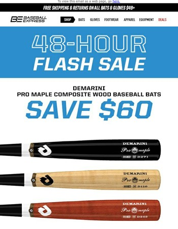 ⚡️ Flash Sale ⚡️ Save $60 on DeMarini Pro Maple Composite Wood Bats