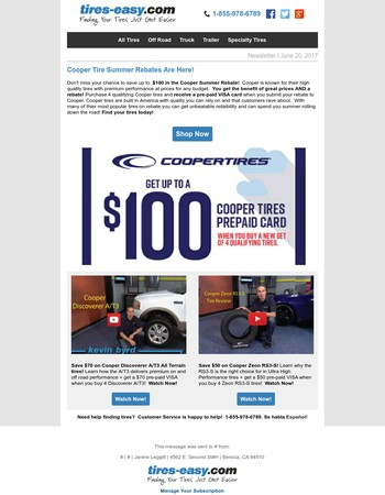 Save up to $100 On Cooper Tires With Summer Rebates