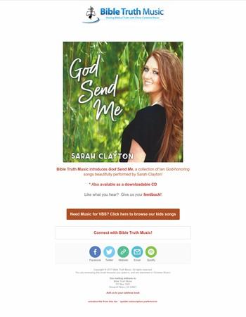 Brand New CD - God Send Me By Sarah Clayton