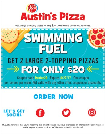 Feed summer fun: 2 for $20