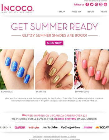 BOGO on sparkly glitter shades through Friday!