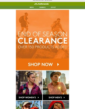 End of Season Clearance NOW ON