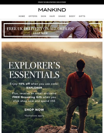 Be an Explorer | 15% off + Free Grooming Gift