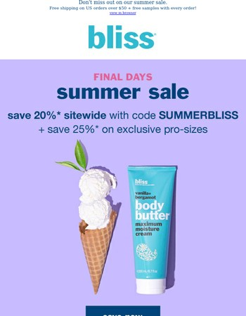 Last chance to save on bliss