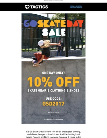 Today Only! 10% Off Skate, Clothes & Shoes