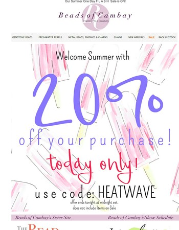 Celebrate the 1st Day of Summer with 20% Savings