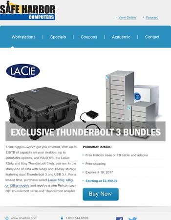 LaCie Thunderbolt bundles exclusively at Safe Harbor