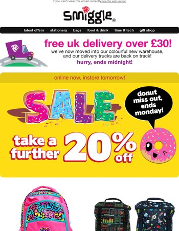 Take a further 20% off sale goodies - starts online now, instore tomorrow! Hurry, ends Monday!