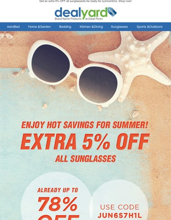 Extra 5% OFF Sunnies For The Summer!