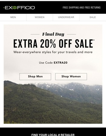 Ends today -- Extra 20% Off Sale.