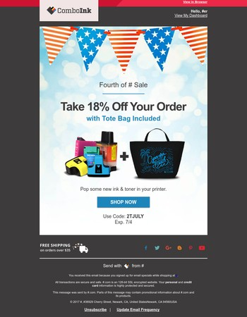 Save 18% during Our Fourth of July Sale
