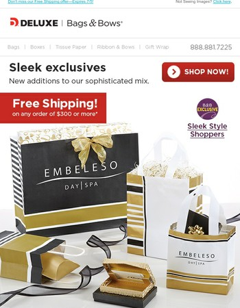 Free shipping on new sleek exclusive shoppers