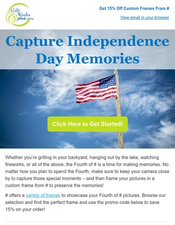 Get a One-Of-A-Kind Picture Frame and Save 15% with Our Independence Day Sale!