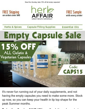 Save 15% On All Empty Capsules