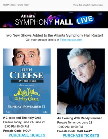 Randy Newman & John Cleese And The Holy Grail Presales This Week!