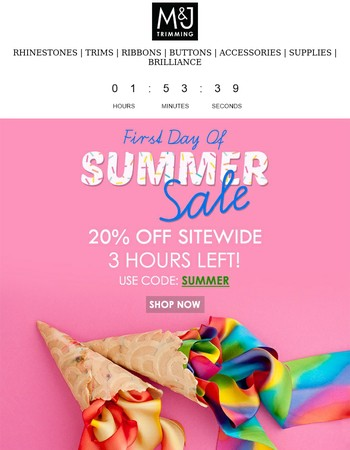3 Hours Left! 20% Off Sitewide!