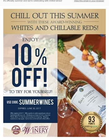 Celebrate Summer, Wines, + 10% Off!