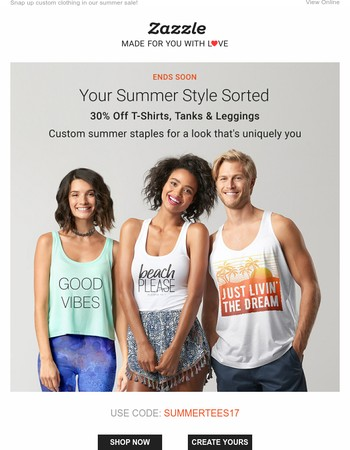 30% off t-shirts, tanks & leggings