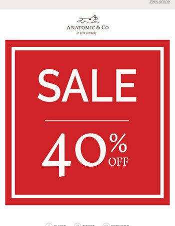 Sale now on – up to 40% off