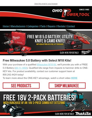 Free Makita & Milwaukee Battery Deals