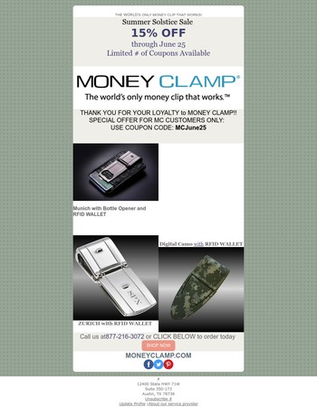15% Off on Money Clamp