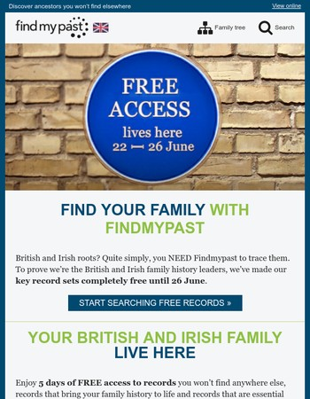 Access British and Irish records FREE