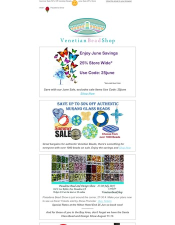 Summer Sale 50% Off Venetian Beads