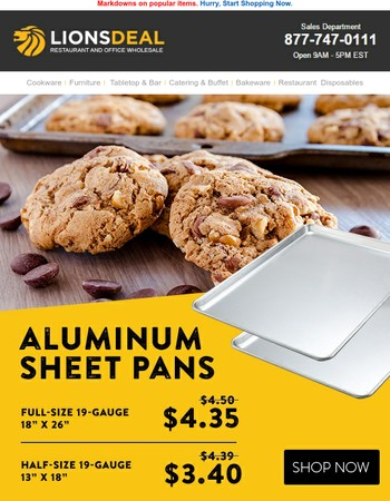 Save on Sheet Pans, French Fry Cutters, Bar Stools, and More