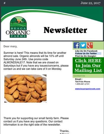 Organic Almonds are on sale!