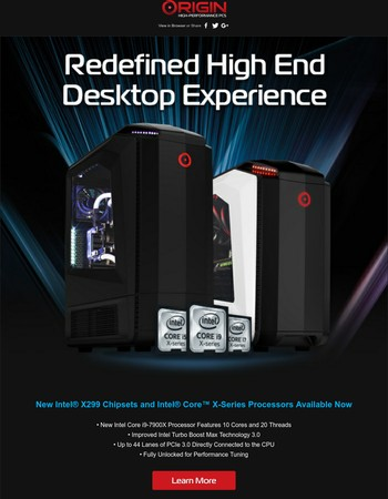 ORIGIN PC - New Intel Core i9 Processors Now Available and Much More