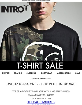 SUMMER T-SHIRT SALE - SAVE UP TO 50%