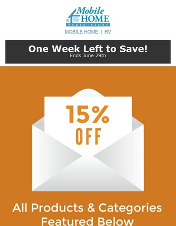 15% OFF Roofing Supplies, Toilets and Repair Parts, & More!
