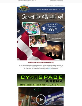 Book Now for 4th of July