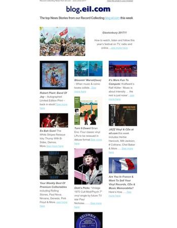 Record Collecting News June 22nd - Glastonbury, Robert Plant, White Stripes reissues, Brian Eno vinyl, Jazz collectables, Kraftwerk - blog.eil.com