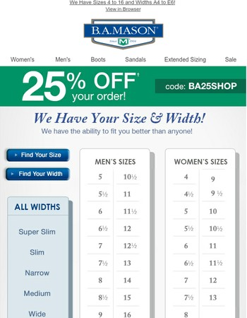 We Have Your Size!