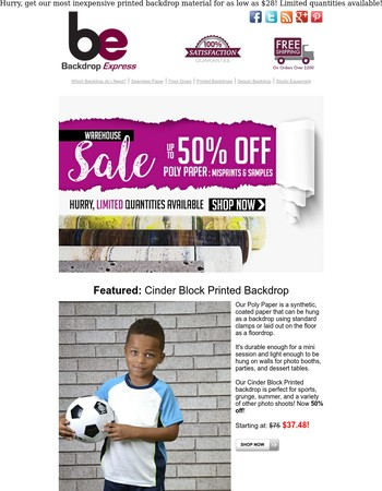 Warehouse Sale: Up to 50% off Poly Paper Backdrops!