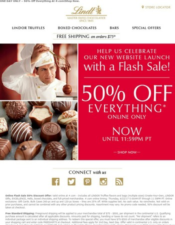 Ends Tonight - 50% Off Flash Sale At Lindt.com.