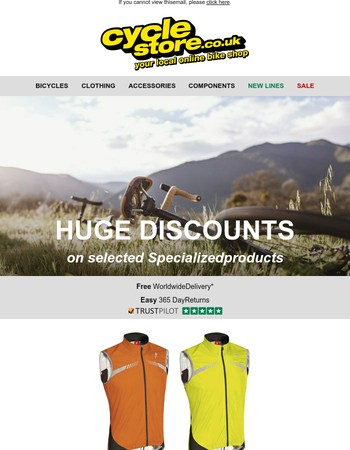 Huge discounts on selected Specialized products at Cyclestore.co.uk