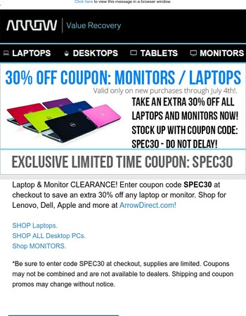 Laptop / Monitor Clearance Sale: 30% OFF COUPON INSIDE