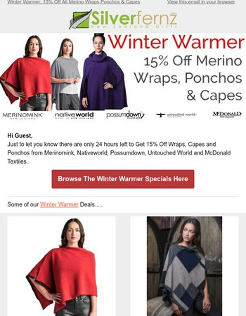 Last 24 Hours to Get 15% Off All Merino Wraps, Ponchos & Capes