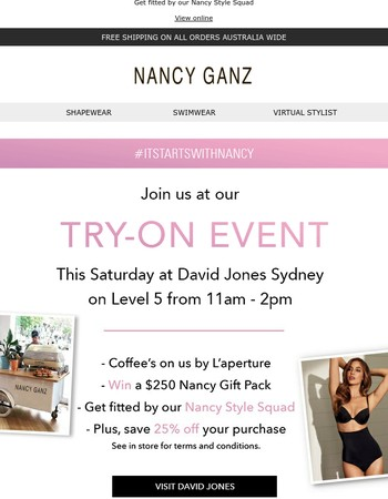 Join Us at Nancy's Try-On Event at David Jones Sydney!