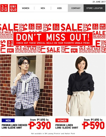 SALE! Get select Uniqlo items at a special price this week.