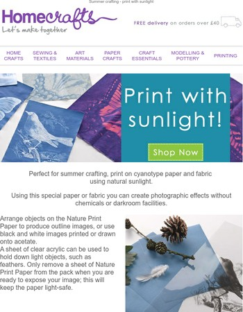 Print with natural sunlight!