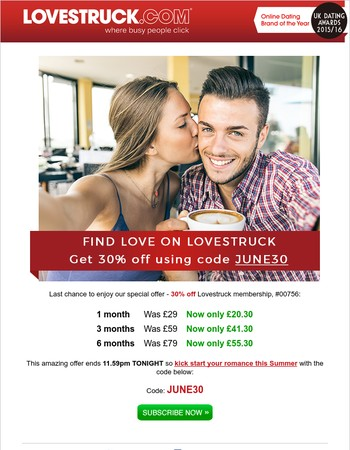ENDS TONIGHT: use code JUNE30 and enjoy 30% off Lovestruck, Mary00756!