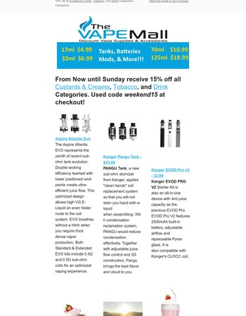 15% Off Custard & Cream, Tobacco, & Drink Categories All Weekend Long!!!