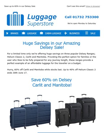 Save up to 60% in our Delsey Sale