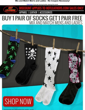 Buy 1 pair of socks get 1 FREE!