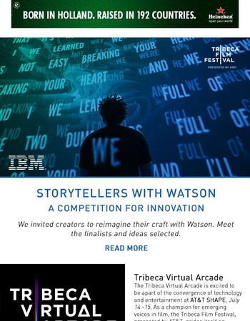 Storytellers with Watson Finalists, Tribeca Virtual Arcade and Tribeca Drive-In Return