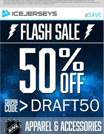 Only A Few Hours Left To Save! 50% OFF NHL Apparel & Accessories - Some Exclusions Apply